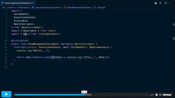 NestJS webové aplikace - ukázka z video kurzu