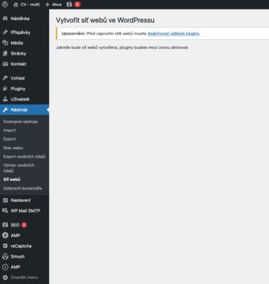 wordpress - multisite - první krok
